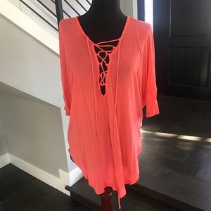 Lush coral lace up tunic length top mango small